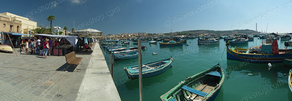 Marsaxlokk Fishing boats and market