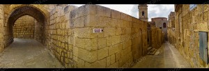 Silent Alleys of the Cittadella in Gozo.